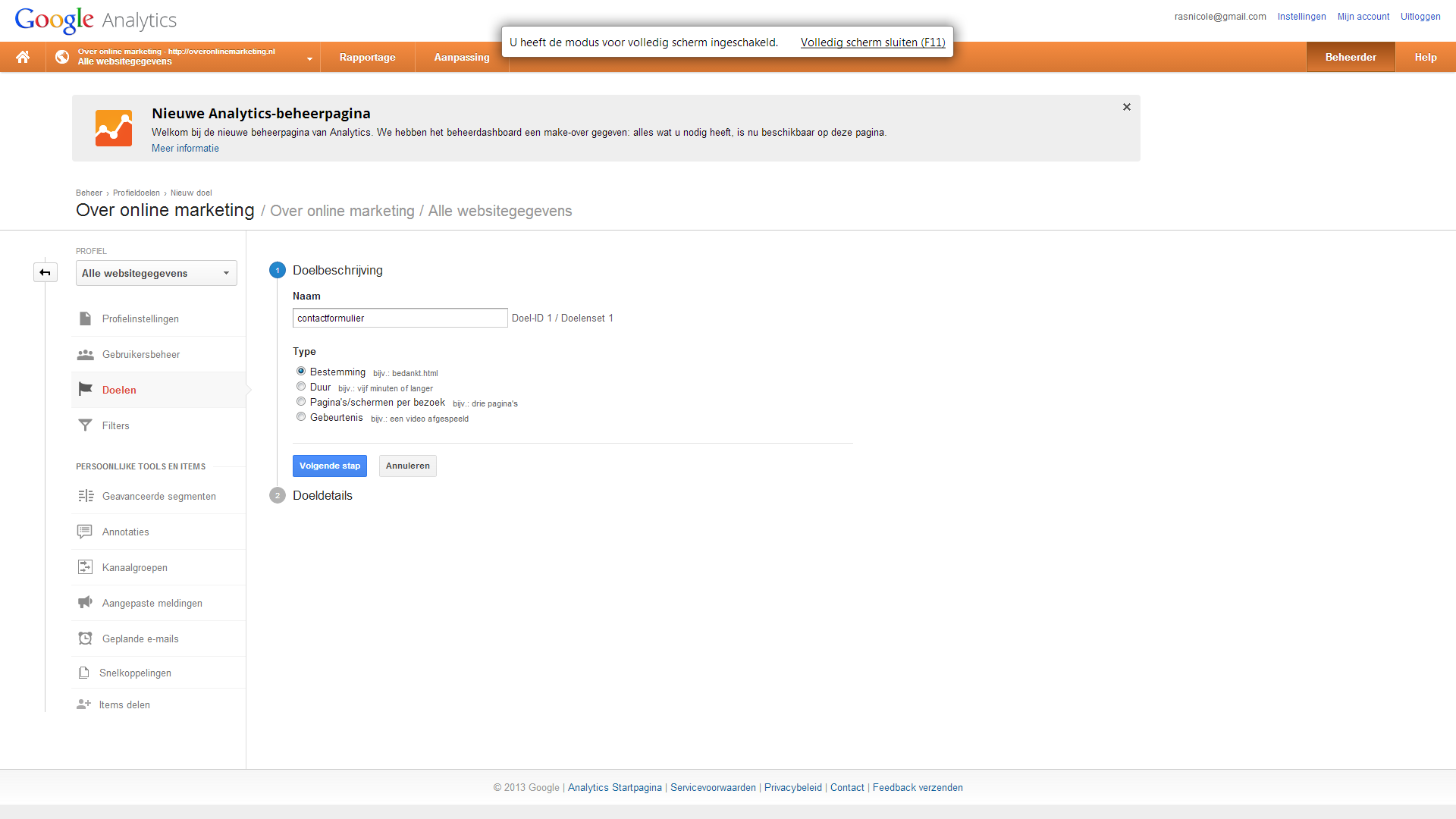 Google Analytics doelen inst ellen 2